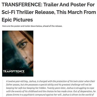 TRANSFERENCE: Trailer And Poster For Sci-Fi Thriller Release, This March From Epic Pictures