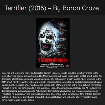 Terrifier (2016) – By Baron Craze