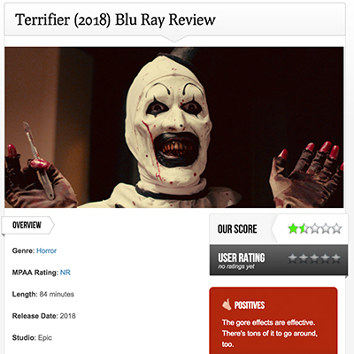 Terrifier (2018) Blu Ray Review