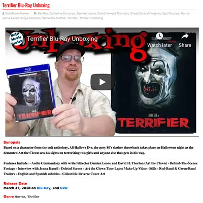 Terrifier Blu-Ray Unboxing by Bobs Movie Review