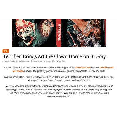 'Terrifier' Brings Art the Clown Home on Blu-ray