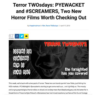 Terror TWOsdays: PYEWACKET and #SCREAMERS, Two New Horror Films Worth Checking Out