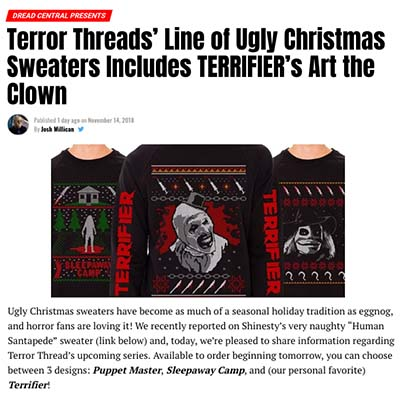 Terror Threads' Line of Ugly Christmas Sweaters Includes TERRIFIER's Art the Clown