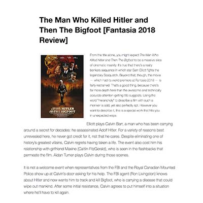 The Man Who Killed Hitler and Then The Bigfoot [Fantasia 2018 Review]