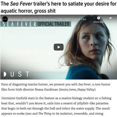 The Sea Fever trailer's here to satiate your desire for aquatic horror, gross shit