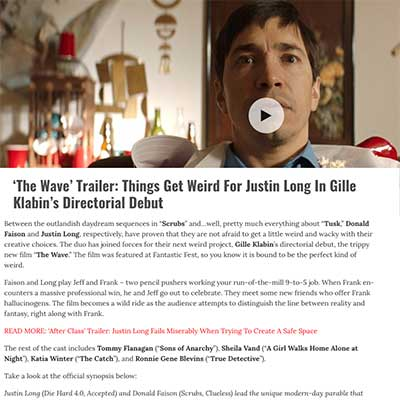 'The Wave' Trailer: Things Get Weird For Justin Long In Gille Klabin's Directorial Debut