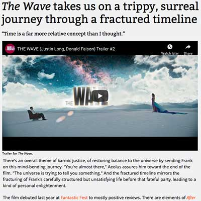 The Wave takes us on a trippy, surreal journey through a fractured timeline