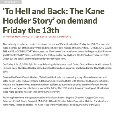 'To Hell and Back: The Kane Hodder Story' on demand Friday the 13th