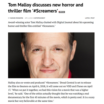 Tom Malloy discusses new horror and thriller film '#Screamers'