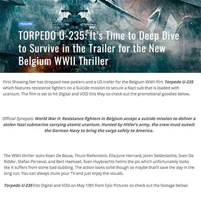 Torpedo U-235 It's Time to Deep Dive to Survive in the Trailer for the New Belgium WWII Trailer