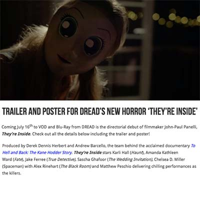 Trailer and Poster for DREAD's New Horror They're Inside (2019)
