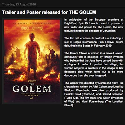 Trailer and Poster released for THE GOLEM
