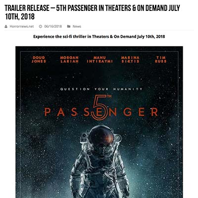 Trailer release – 5TH PASSENGER in Theaters & On Demand July 10th, 2018
