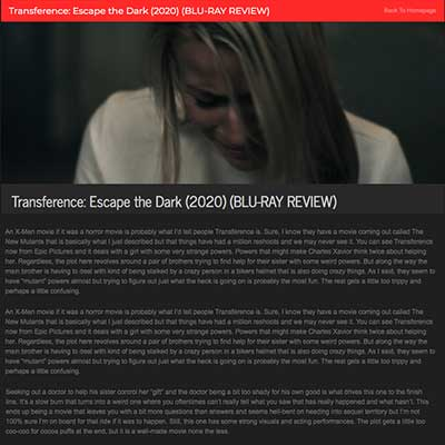 Transference: Escape the Dark (2020) (BLU-RAY REVIEW)