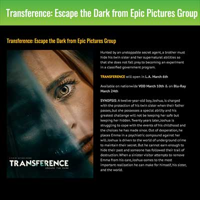 Transference: Escape the Dark from Epic Pictures Group