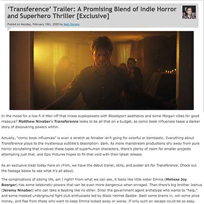 'Transference' Trailer: A Promising Blend of Indie Horror and Superhero Thriller [Exclusive]