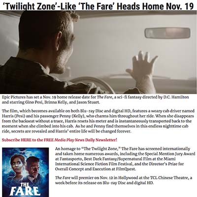 'Twilight Zone'-Like 'The Fare' Heads Home Nov. 19