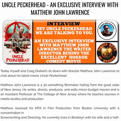 UNCLE PECKERHEAD - AN EXCLUSIVE INTERVIEW WITH MATTHEW JOHN LAWRENCE