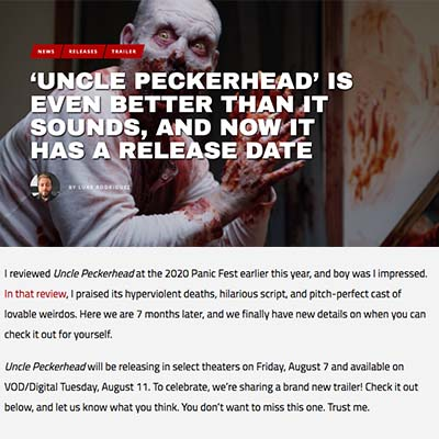 'UNCLE PECKERHEAD' IS EVEN BETTER THAN IT SOUNDS, AND NOW IT HAS A RELEASE DATE