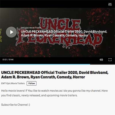 UNCLE PECKERHEAD Official Trailer 2020, David Bluvband, Adam R. Brown, Ryan Conrath, Comedy, Horror