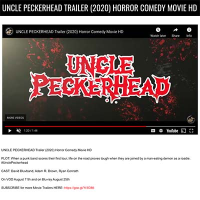 UNCLE PECKERHEAD TRAILER (2020) HORROR COMEDY MOVIE HD