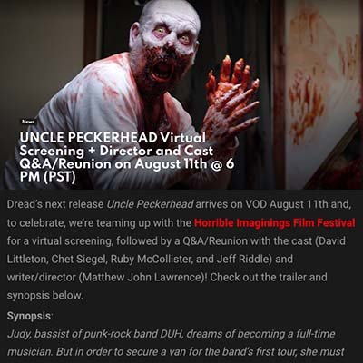 UNCLE PECKERHEAD Virtual Screening + Director and Cast Q&A/Reunion on August 11th @ 6 PM (PST)