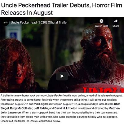 Uncle Peckerhead Trailer Debuts, Horror Film Releases In August
