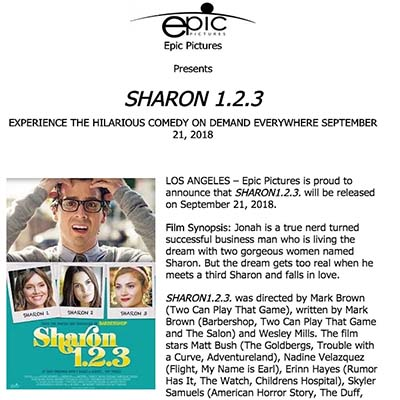 Video: Epic Pictures Presents SHARON 1.2.3 On Demand Everywhere Sept. 21.