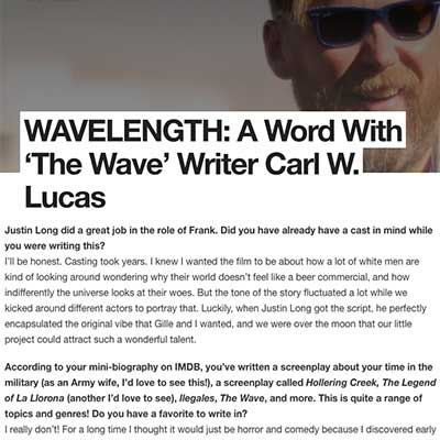 WAVELENGTH: A Word With 'The Wave' Writer Carl W. Lucas