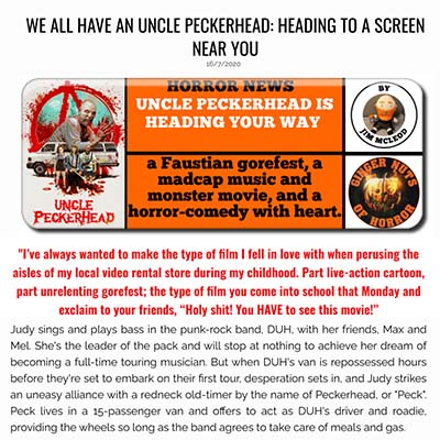 WE ALL HAVE AN UNCLE PECKERHEAD: HEADING TO A SCREEN NEAR YOU