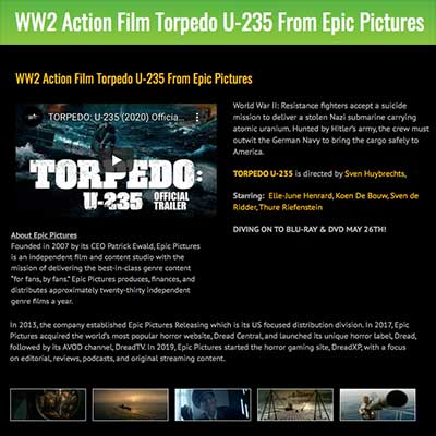 WW2 Action Film Torpedo U-235 From Epic Pictures