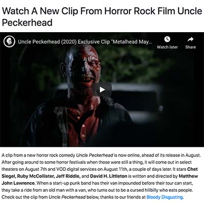 Watch A New Clip From Horror Rock Film Uncle Peckerhead
