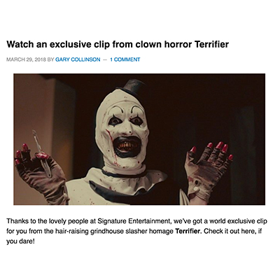 Watch an exclusive clip from clown horror Terrifier