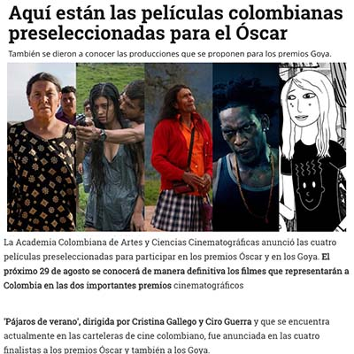 We Are The Heat selected for Oscar shortlist for Colombia