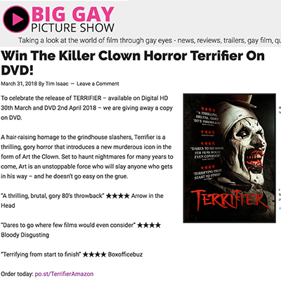 Win The Killer Clown Horror Terrifier On DVD!