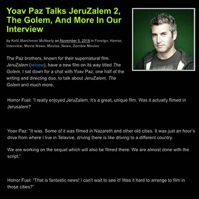 Yoav Paz Talks JeruZalem 2, The Golem, And More In Our Interview